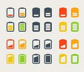 Different accumulator icons set. Design elements
