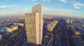 High building in residential district North Izmailovo in Moscow, Russia. Aerial view