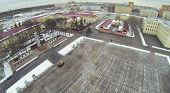 Army garrison with plateau in front of barracks at winter in Moscow, Russia. Aerial view
