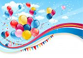 Holiday background with balloons with place for text