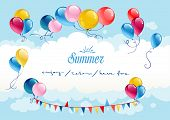 Festive summer background with balloons and sky. Place for text.
