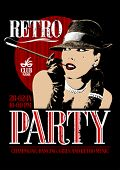 Retro party design with old-fashioned woman in a hat, smoking  cigarette in the mouthpiece.