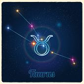 Vector constellation Taurus with the Zodiac sign