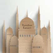 stock photo of hari raya  - Vector 3D Cardboard Mosque - JPG