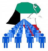pic of kuwait  - Lines of people with Kuwait map flag vector illustration - JPG