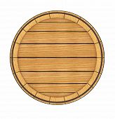 Wooden barrel top view. 3d rendered illustration. Isolated on white background. Clipping path includ