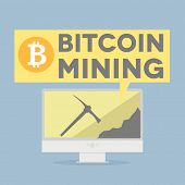 minimalistic illustration of a monitor displaying bitcoin mining , eps10 vector