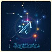 Vector constellation Sagittarius with Zodiac sign
