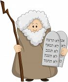 image of clip-art staff  - Vector illustration of Moses holding the ten commandments - JPG