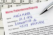 a living will in german language. instructions for the doctor or hospital in the event of a terminal illness.
