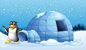 Illustration of a penguin beside the igloo