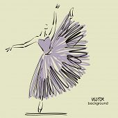 art sketched beautiful young ballerina with long tutu in the dance