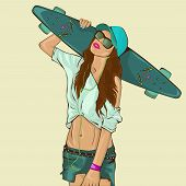 The beautiful young girl with skateboard