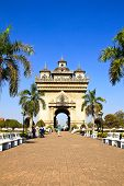 Vientiane, Laos - Feb 2: Patuxai Gate Also Known As Anousavali Which Means The Gate Of Victory