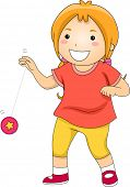 Illustration of a Little Girl Happily Playing with a Yoyo