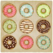 donuts retro striped background