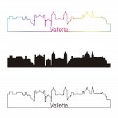 Valletta Skyline Linear Style With Rainbow