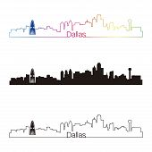 Dallas Skyline Linear Style With Rainbow