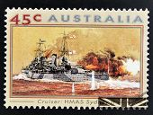 A stamp printed in Australia shows Second World War Naval Vessels. H.M.A.S Sydney II (Cruiser)