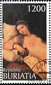 BURYATIA - CIRCA 1990: A stamp printed in Buryatia shows picture of Tiziano