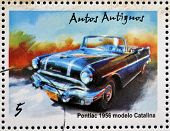 stamp printed in Cuba dedicated to retro car shows Pontiac 1956 Catalina model