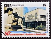 stamp 50 anniversary of the triumph of the revolution shows Cuban Science Day
