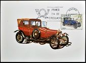 A stamp printed in Spain shows a classic car Abadal 1914