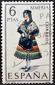 A stamp printed in Spain dedicated to Provincial Costumes shows a woman from Almeria