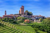 Small town and green vineyards on downhill in spring in Piedmont, Northern Italy.