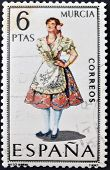 A stamp printed in Spain dedicated to Provincial Costumes shows a woman from Murcia