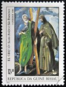 stamp shows draw by artist El Greco - St Andrew and St Francis