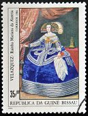 stamp shows draw by artist Velazquez - Portrait of the Infanta Maria Theresa of Spain Philip IV's da