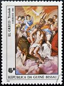 stamp printed in Republic of Guinea Bissau shows draw by artist El Greco - The Holy Trinity