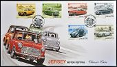 Stamps printed in Jersey dedicated to classic cars