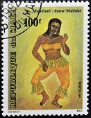stamp printed in Mali shows Tribal dance Mandiani