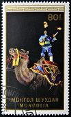A stamp printed in Mongolia shows Juggler