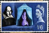 stamp dedicated to the 400th anniversary of William Shakespeare shows Henry V praying at Agincourt