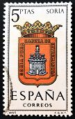 A stamp printed in Spain dedicated to Arms of Provincial Capitals shows Soria
