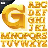 Vector alphabet of simple 3d glossy letters. Slab. Yellow Upper cases