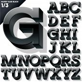 Vector alphabet of simple 3d glossy letters. Slab. Black Upper cases