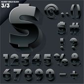 Vector alphabet of simple 3d glossy letters. Sans bold. Black Symbols