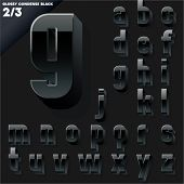Vector alphabet of simple 3d glossy letters. Condensed. Black Small cases