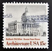 Stamp printed in USA shows State House Boston by Bulfinch