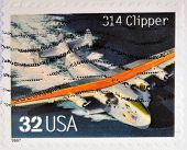 A stamp printed in USA shows 314 Clipper