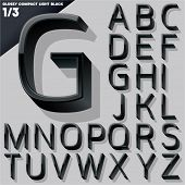 Vector alphabet of simple 3d glossy letters. Compact light. Black Upper cases