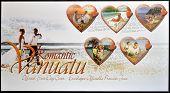Stamps printed in Vanuatu dedicated to romantic Vanuatu