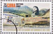 stamp shows monument to Che in La Higuera Bolivia