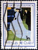 A stamp printed in Italy shows the mele poster