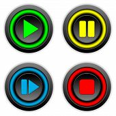 Play, Pause, Stop, Forward Buttons Set
