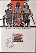 A stamp printed in Liechtenstein shows peasants revolt 1525